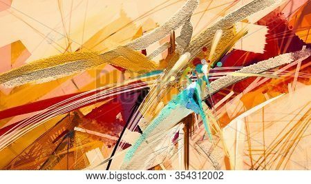 Abstract Colorful Oil Painting On Canvas Texture. Hand Drawn Brush Stroke, Oil Color Paintings Backg