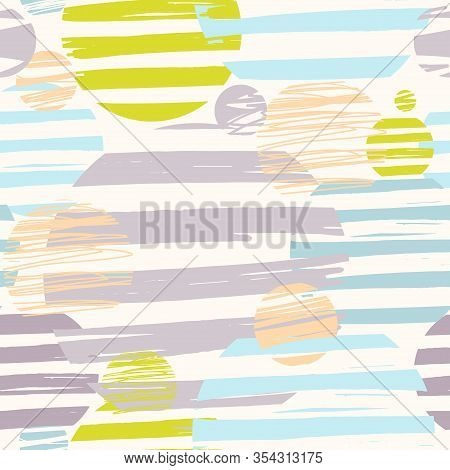 Seamless Abstract Geometric Pattern With Circles In Stripes In Four Colors