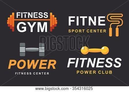 Fitness Gym Logo Signs Collection, Bodybuilding Club Emblem Templates Icons Set. Sport, Power Liftin