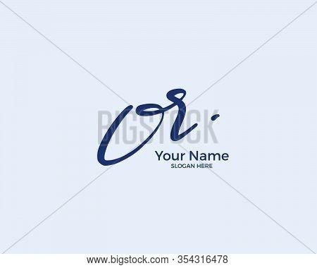 O R Or Initial Logo Signature Vector. Handwriting Concept Logo.
