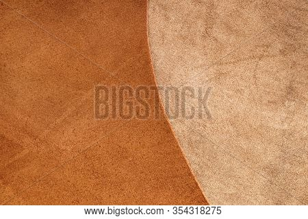 Brown Leather.natural Leather Texture. Brown-beige Leather Combination Background.smooth And Matte L