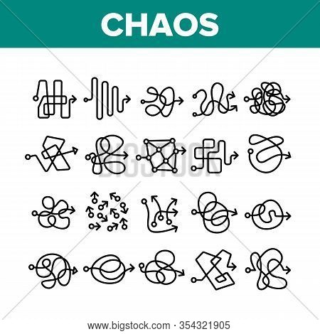 Chaos Arrow Movement Collection Icons Set Vector. Confused Complicated Way As Chaos Or Problem, Chao