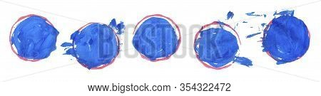 Set Of Colorful Brushstroke Stains Isolated On White Background. Hand Painted Gouache Brushstroke Pa