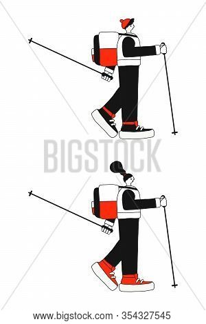 Characters Of A Girl And Boy Engaged In Nordic Walking. Flat Vector. Hiking In Nature. Illustration