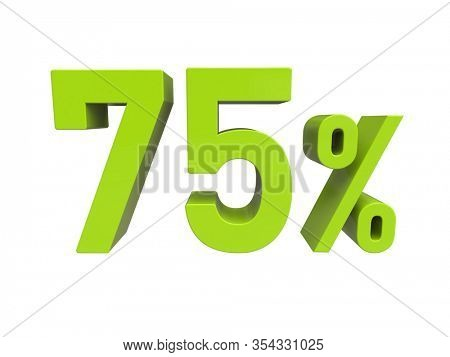 3d Render: Green75% Percent Discount 3d Sign on Light Background, Special Offer 75% Discount Tag, Sale Up to 75 Percent Off, Seventy-five Percent Letters Sale Symbol, Special Offer Label
