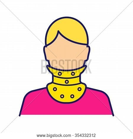Cervical Collar Color Icon. Neck Brace. Medical Plastic Neck Support. Orthopedic Collar. Traumatic H