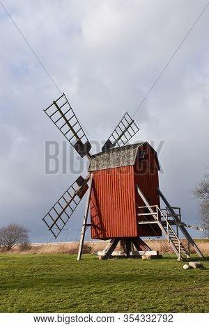 Traditional Old Wooden Windmill - Symbol For The Swedish Island Oland - The Island Of Sun And Wind I