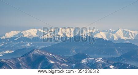 Spectacular Zapadne Tatry Mountain Range Scenery From Velka Luka Hill On Martinske Hole In Lucanska
