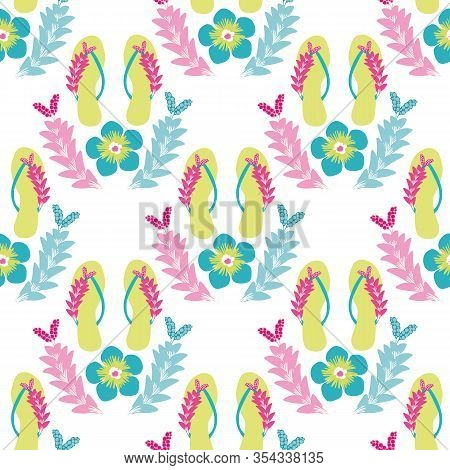 Flip Flop Shoe On Beach Seamless Vector Pattern Background. Elegant Sandals And Flowers Oceanside Ba