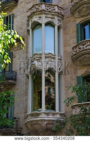 Barcelona, Spain - May 16, 2017: View Of The Details Of The Famous Casa Manuel Felip Building. Is A