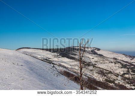 Skrzyczne Hill With Communication Tower From Rock Formation On Malinowska Skala Hill In Beskid Slask