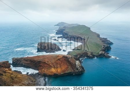 Sao Lourenco View With Atlantic Ocean Bay From Pico Do Furado - The Headland's Highest Point In The