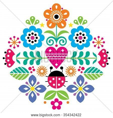 Scandinavian Cute Folk Vector Pattern With Flowers And Ladybird, Spirng Floral Pattern Inspired By T