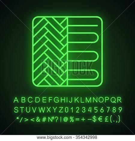 Floor Heating System Neon Light Icon. Underfloor Heating. Floor Heater. Glowing Sign With Alphabet,