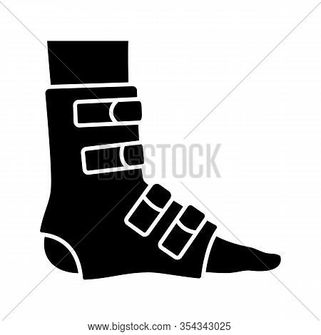 Foot Ankle Brace Glyph Icon. Foot Orthosis. Leg Brace. Adjustable Ankle Joint Bandage. Silhouette Sy