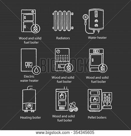 Heating Chalk Icons Set. Boilers, Radiators, Water Heaters. Gas, Electric, Pellet, Boilers. Commerci