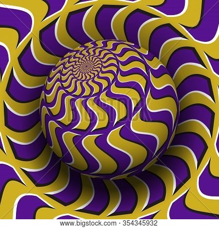 Optical Illusion Hypnotic Vector Illustration. Patterned Purple Golden Globe Soaring Above The Same
