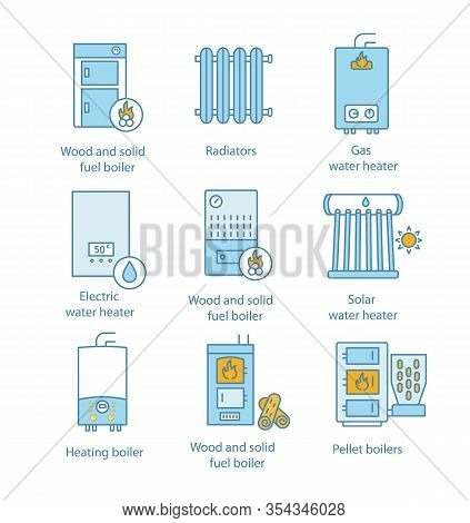 Heating Color Icons Set. Boilers, Radiators, Water Heaters. Gas, Electric, Solid Fuel, Pellet, Solar