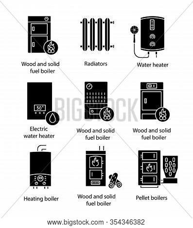 Heating Glyph Icons Set. Boilers, Radiators, Water Heaters. Gas, Electric, Solid Fuel, Pellet, Boile