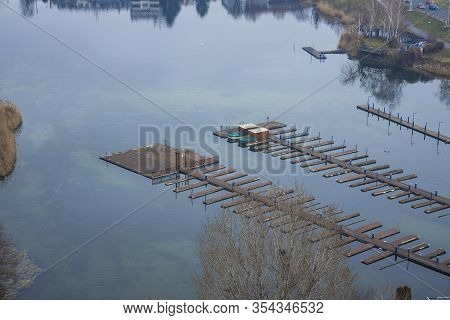 Rustic Dock Pier On Lake Calm Water Surface Top View Outside Space Country Side Rural Place In Asia