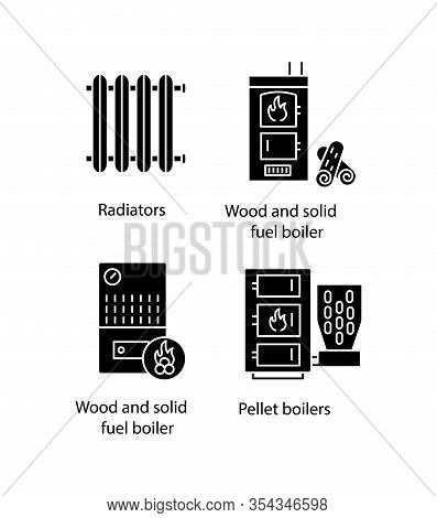 Heating Glyph Icons Set. Radiator, Firewood And Pellet Boiler, Solid Fuel Heater. Silhouette Symbols
