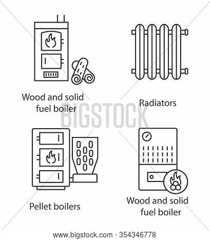 Heating Linear Icons Set. Radiator, Firewood And Pellet Boiler, Solid Fuel Heater. Thin Line Contour
