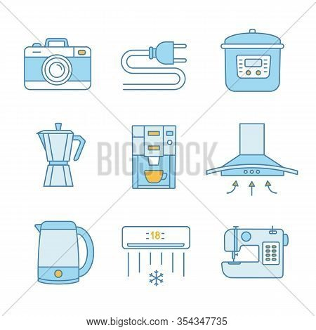 Household Appliance Color Icons Set. Photo Camera, Wire Plug, Multi Cooker, Coffee Maker, Range Hood