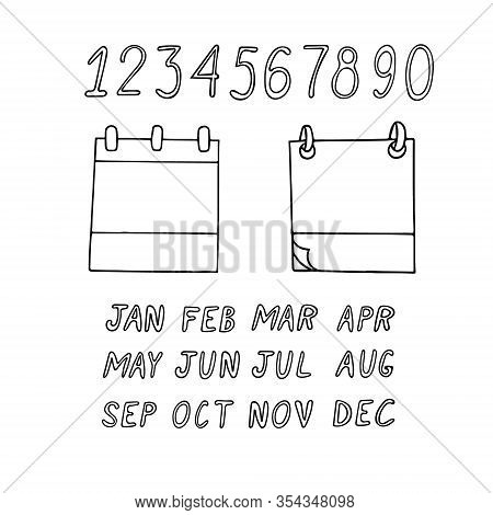 Leaflets, Numbers, Month Names. Hand Drawn Set In Doodle Style. Constructor. Calendar Design Element