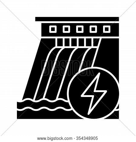 Hydroelectric Dam Glyph Icon. Water Energy Plant. Hydropower. Hydroelectricity. Silhouette Symbol. N