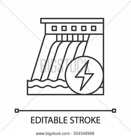 Hydroelectric Dam Linear Icon. Water Energy Plant. Thin Line Illustration. Hydropower. Hydroelectric