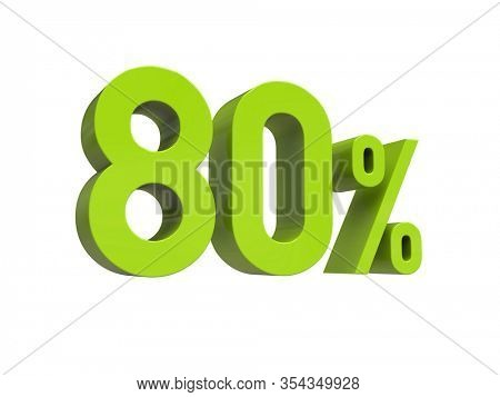 3d Render: ISOLATED 80% Percent Discount 3d Sign on White Background, Special Offer 80% Discount Tag, Sale Up to 80 Percent Off,  Eighty Percent Letters Sale Symbol, Special Offer Label