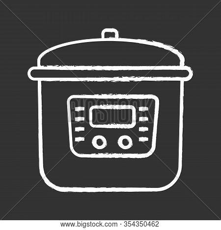Multi Cooker Chalk Icon. Slow Cooker. Crock Pot. Pressure Multicooker. Kitchen Appliance. Isolated V