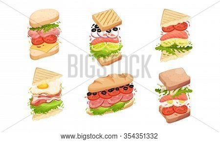 Sandwiches With Multiple Layers Isolated On White Background Vector Set