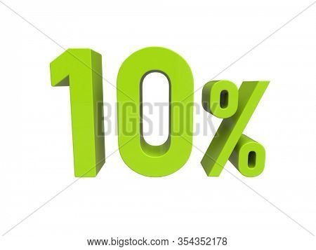3d Render: ISOLATED 10% Percent Discount 3d Sign on WHITE Background, Special Offer 90% Discount Tag, Sale Up to 90 Percent Off,  Ninety Percent Letters Sale Symbol, Special Offer Label