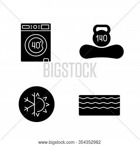 Orthopedic Mattress Glyph Icons Set. Machine Washable, Dual Season, Memory Foam Mattress, Weight Lim