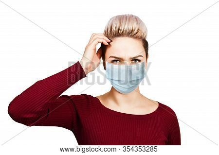 Young Woman Thinking Wearing Protective Face Mask Prevent Virus Infection, Pollution, White Isolated