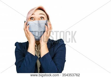 Young Girl Amazed Wearing Protective Face Mask Prevent Virus Infection, Pollution, White Isolated Ba