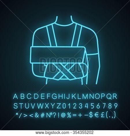 Shoulder Immobilizer Neon Light Icon. Sling And Swathe. Broken Arm, Shoulder Injury Treatment. Arm F