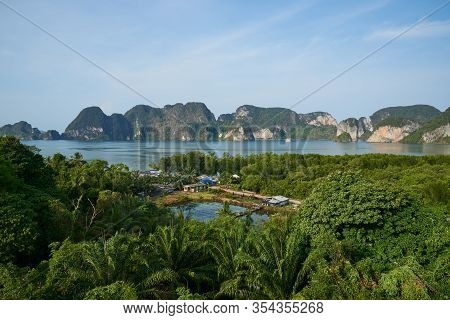 Beautiful View Of Krabi Montains And Sea. View From The Viewpoint At Leamsak Temple, Aoleuk, Krabi,