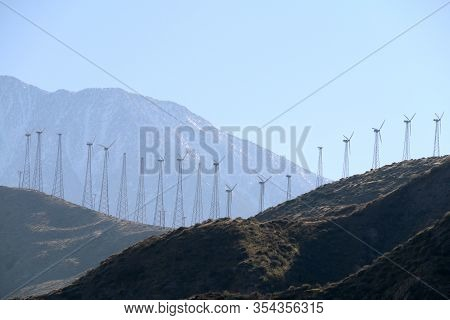 Mountain Valley Crest Vintage Wind Turbine Farm Distant
