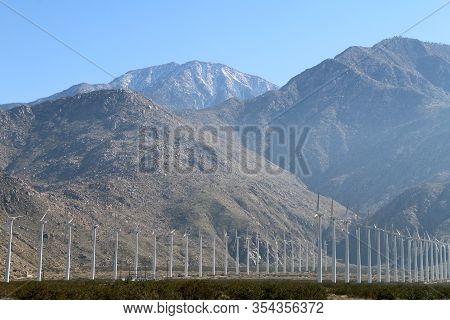 Tall Mountains Desert Valley Wind Turbine Farm