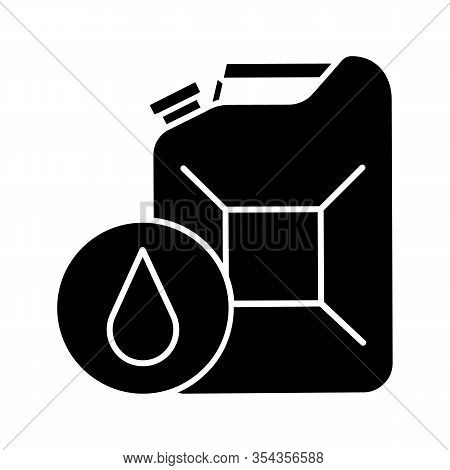 Steel Jerry Can Glyph Icon. Gasoline Can. Petrol. Fuel Container. Silhouette Symbol. Negative Space.
