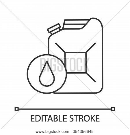 Steel Jerry Can Linear Icon. Gasoline Can. Petrol. Thin Line Illustration. Fuel Container. Contour S