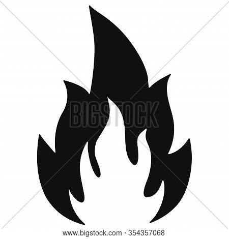 Fire Flame Icon Isolated On A White Background. Burning Campfire Flame Black Silhouette. Hot Flame E