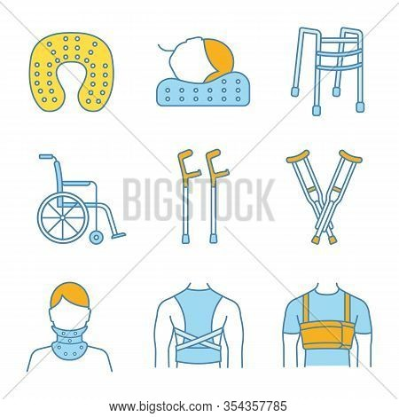 Trauma Treatment Color Icons Set. Posture Corrector, Neck Orthopedic Pillow, Wheelchair, Axillary An