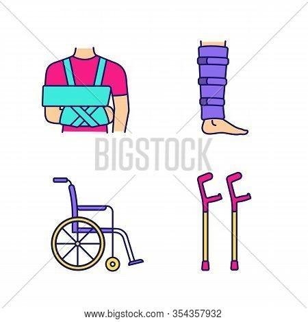 Trauma Treatment Color Icons Set. Shoulder Immobilizer, Shin Brace, Wheelchair, Elbow Crutches. Isol