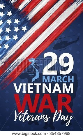 National Vietnam War Veterans Day Celebrated 29th Of March In Usa Banner. National Patriotic Event G