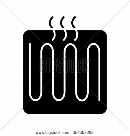 Underfloor Heating Element Glyph Icon. Floor Heating System. Heater. Silhouette Symbol. Negative Spa