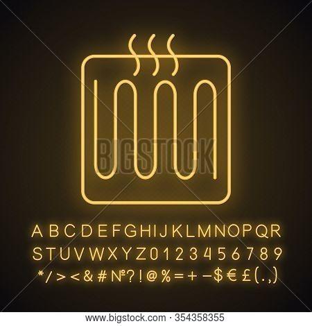 Underfloor Heating Element Neon Light Icon. Floor Heating System. Heater. Glowing Sign With Alphabet