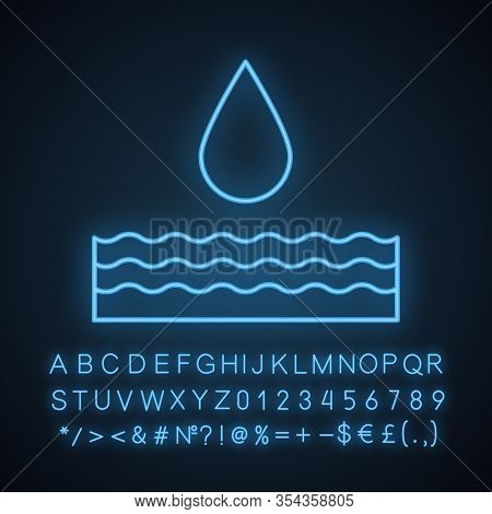 Water Energy Neon Light Icon. Hydropower. Hydroelectricity. Glowing Sign With Alphabet, Numbers And